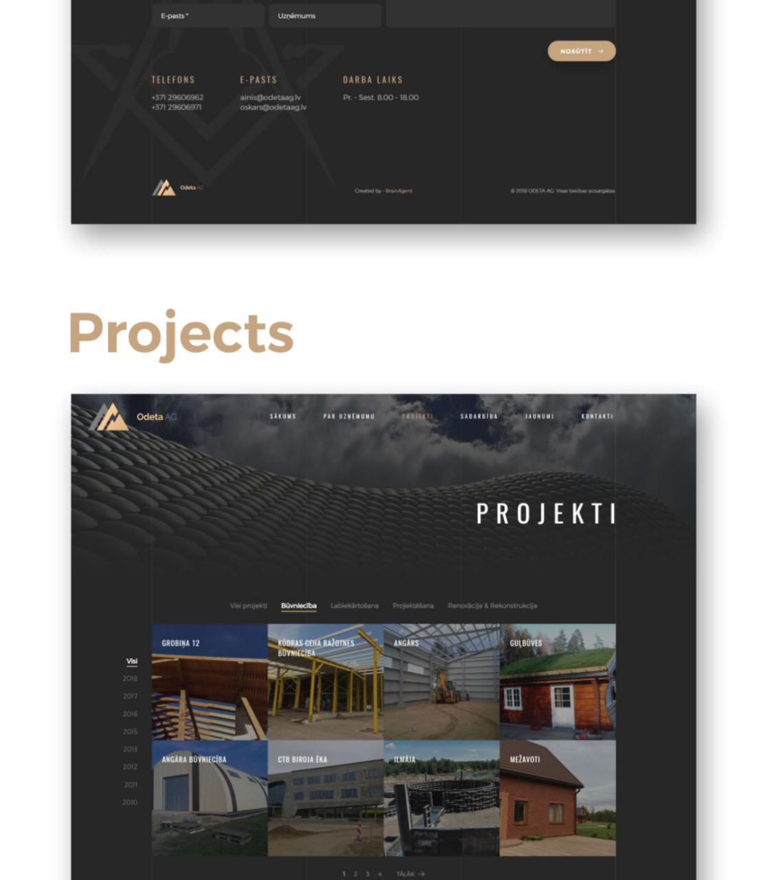 Odeta AG construction company website design - portfolio