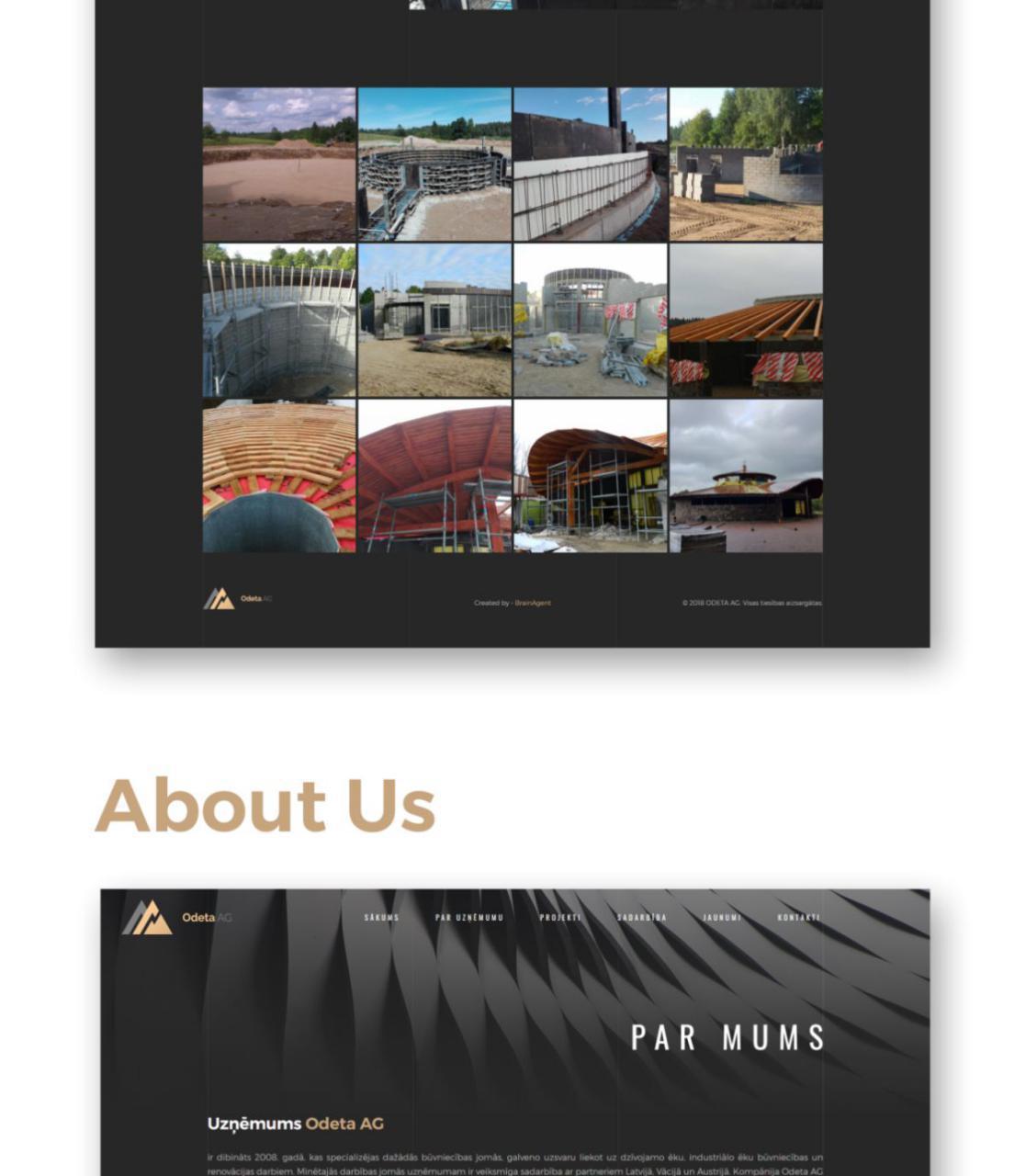 Odeta AG construction company website design - portfolio