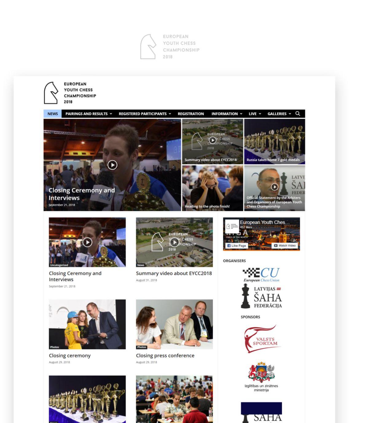 European Youth Chess Championship 2018 website design - portfolio