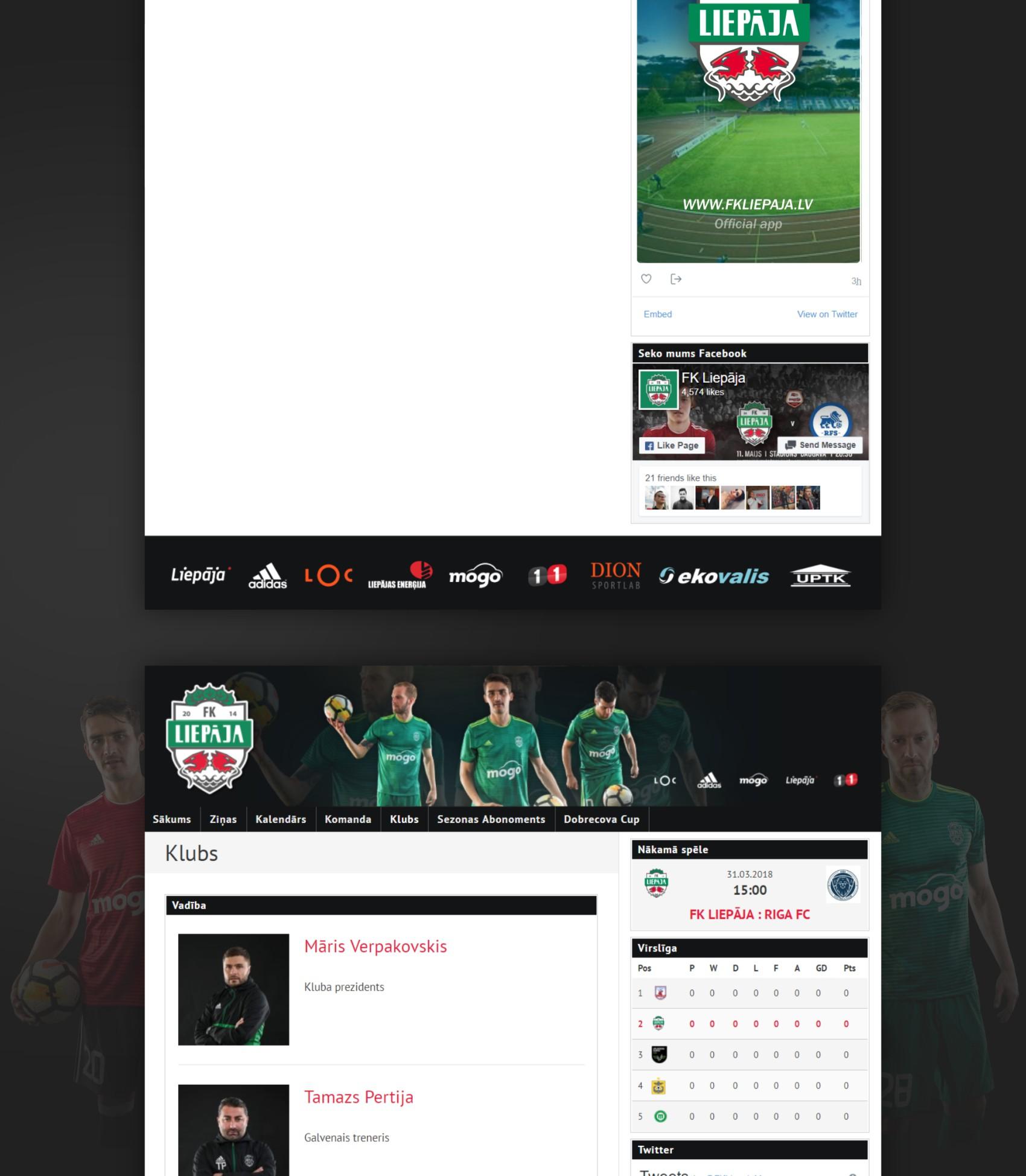 Futbola klubs Liepāja mobilā aplikācija tiešsaistes sporta rezultāti - mājas lapas izveide portfolio