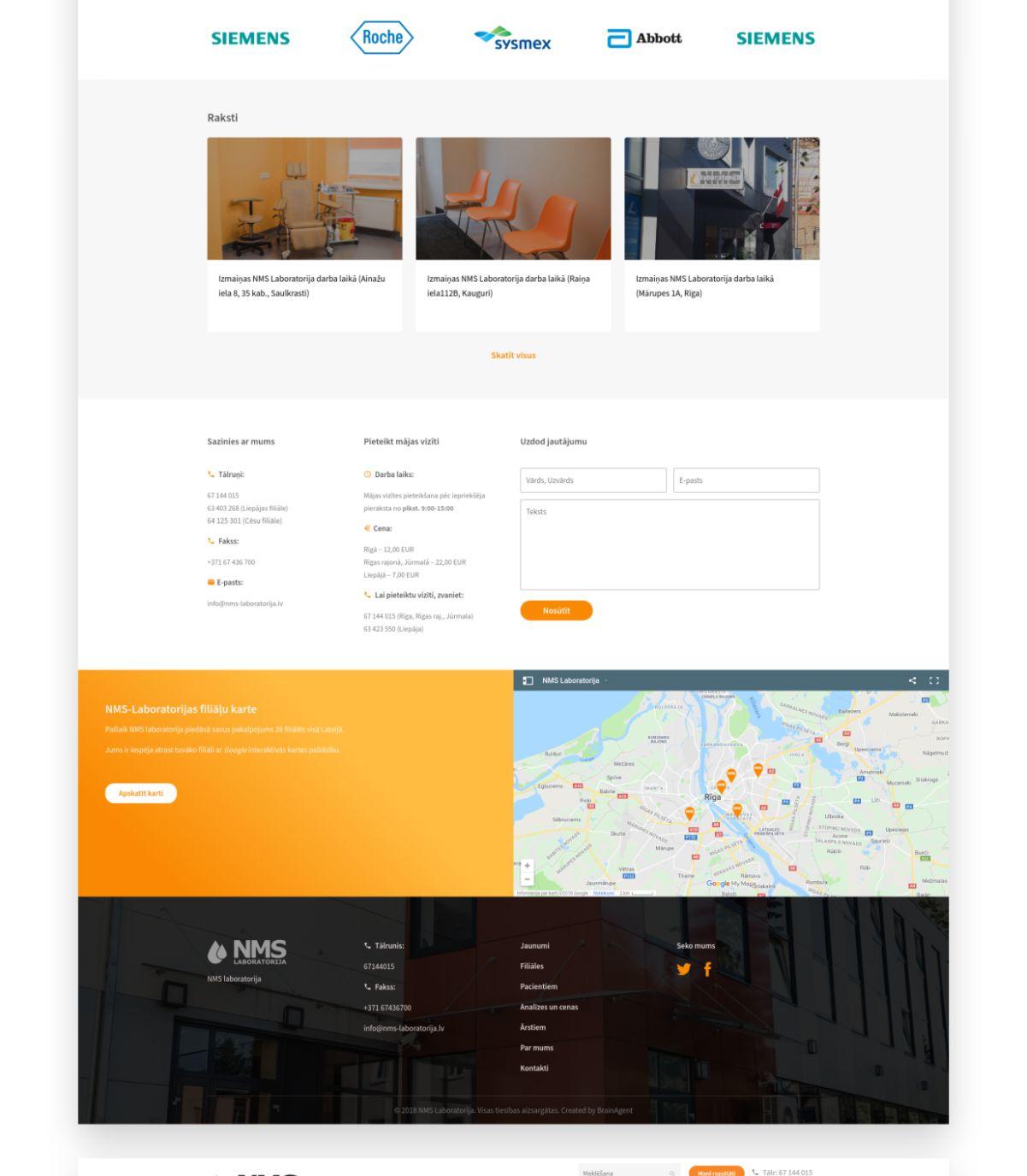 NMS Laboratorija mājas lapas izveide un dizains - portfolio
