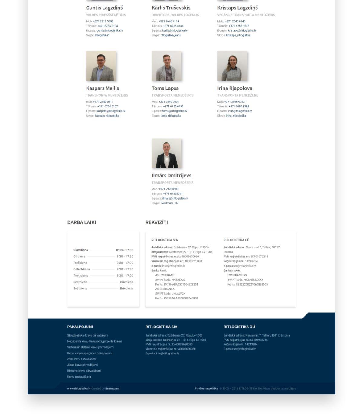 RIT Logistika logistics company website design - portfolio