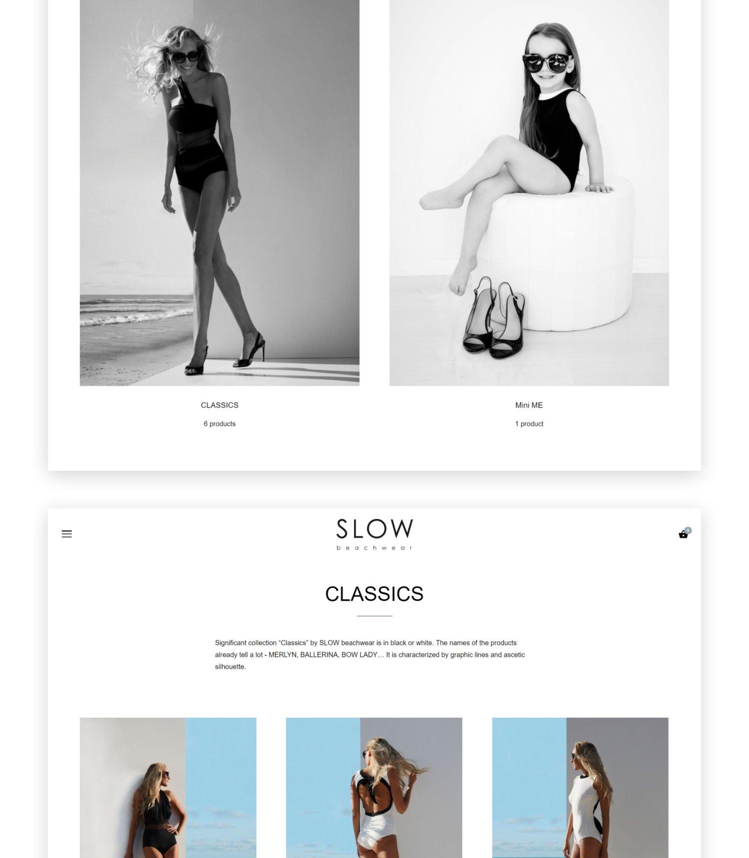 SLOW beachwear Shopify online shop design - portfolio