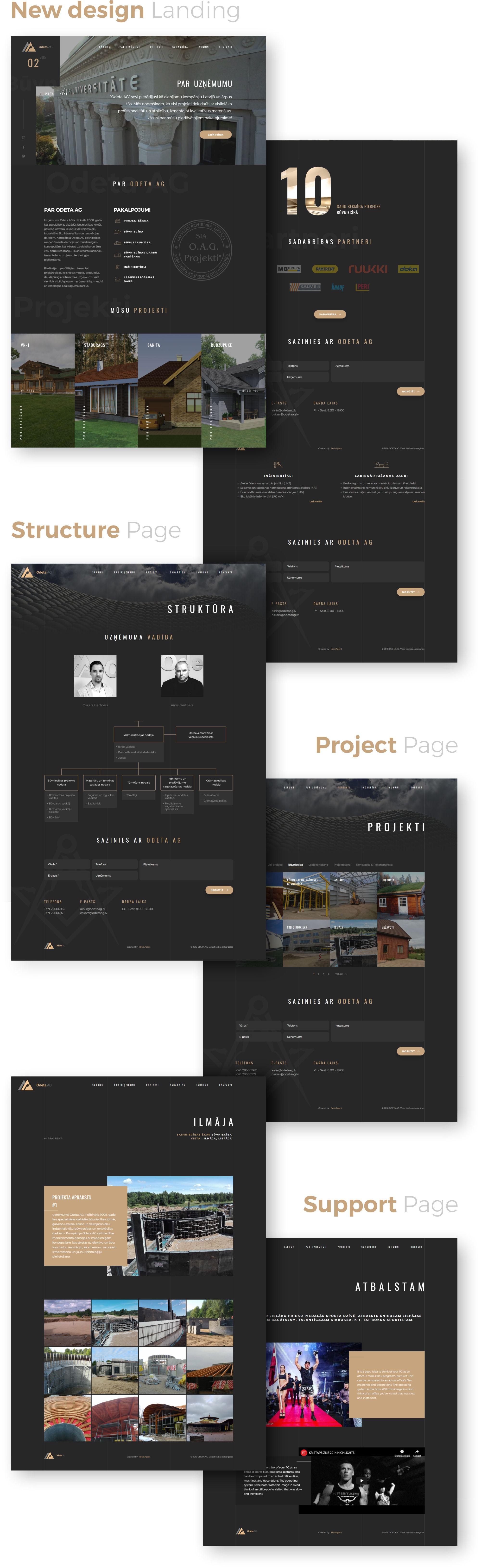 Odeta AG construction company old website design vs new - portfolio case study