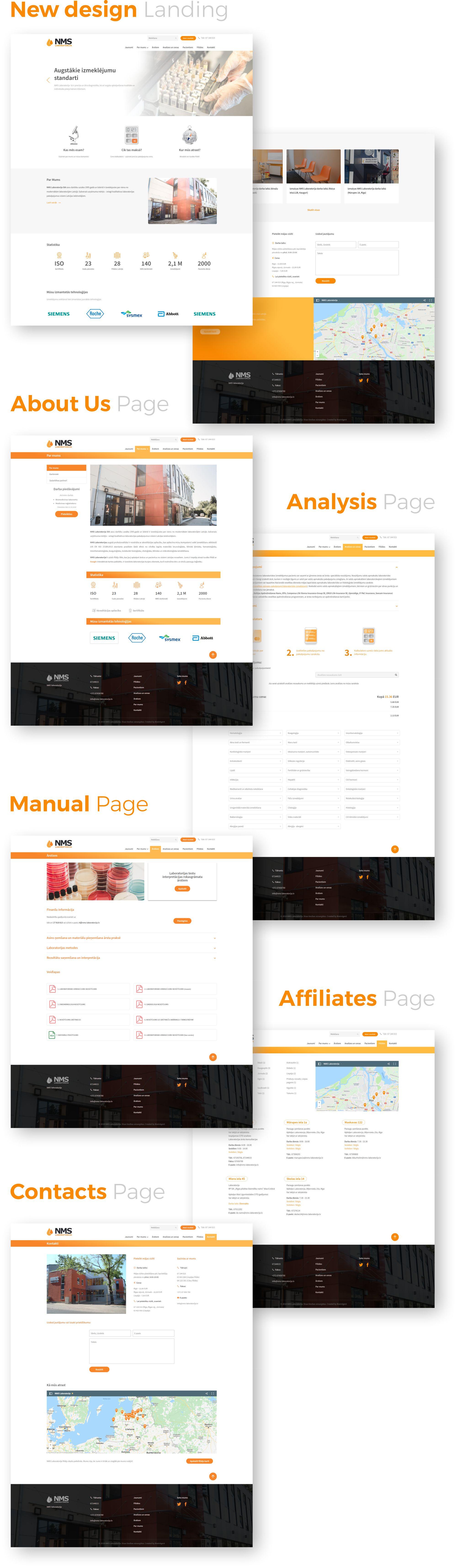 NMS Laboratorija mājas lapas iepriekšējais dizains un jaunais