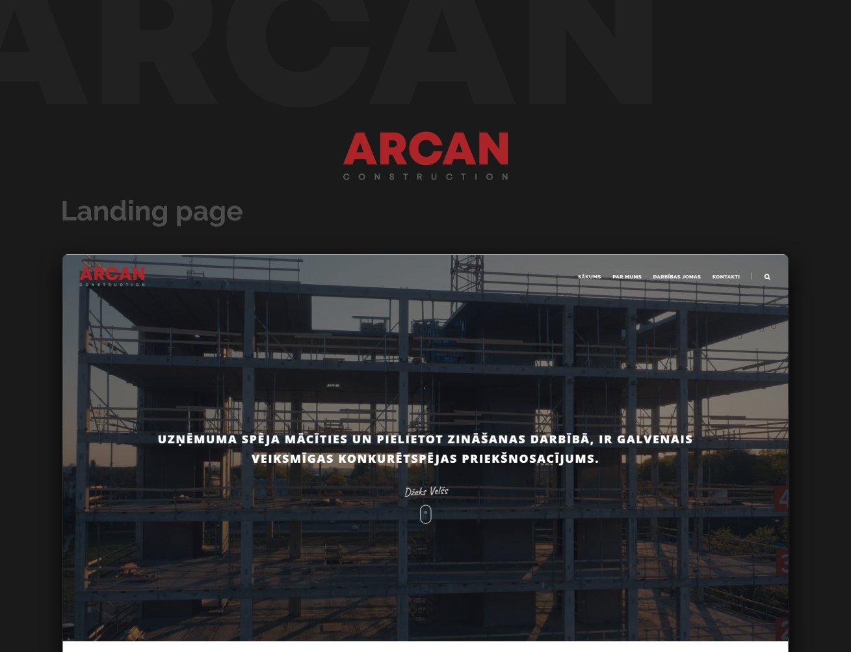 Arcan construction - website portfolio