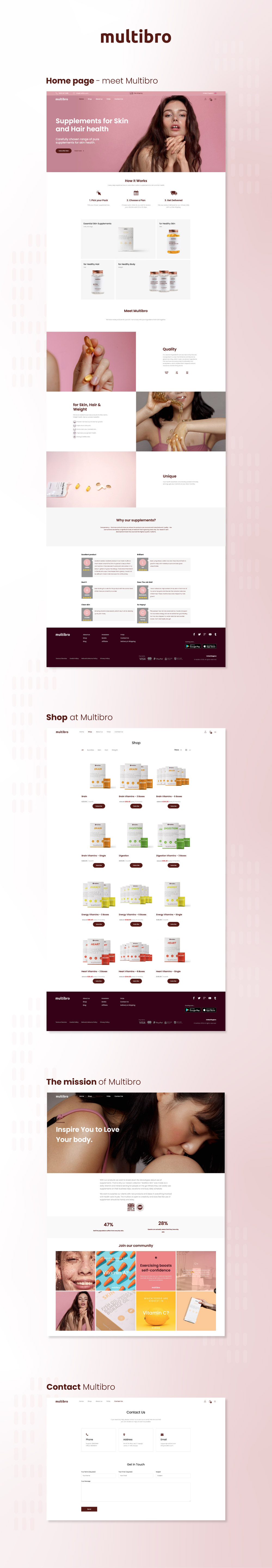 Multibro Portfolio vitamins development design and website